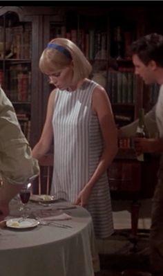 Mia Farrow Rosemary's Baby Blue Stripe Dress