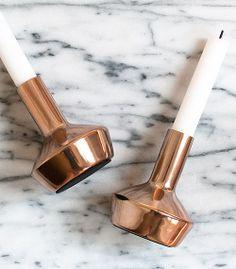 h&m copper candlesticks