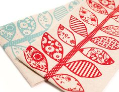 Hand Printed Cotton Tea Towels Set of Two Red and by annajoyce, $24.00