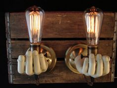 Upcycled Vintage Mannequin Hand Lighting Sconces by BenclifDesigns