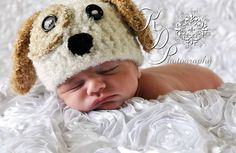 Cuddly Puppy Hat Newborn Baby Crochet 0-3 months PHOTO PROP. $25.00, via Etsy.
