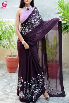 Buy Wine Pure Silk Chiffon Sequins Pearl Handwork Saree by Colorauction - Online shopping for Sarees in India Sarees For Girls, Blouses For Sarees, Chiffon Saree Party Wear, Indische Sarees, Indian Gowns Dresses, Pakistani Dresses, Party Kleidung, Satin Saree, Silk Saree Blouse Designs