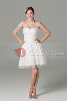Impresionante/Elas Vestido de Boda sin Tirantes Larga al Rodillas y Estilo Princesa  (Envío Gratuito ) $170