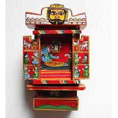 Kavaad, Red Wooden Hindu Temple, Portable Shrine, Ram and Sita Travelling Storybook, Wooden Kavaad, Story of Ramayan , Hindu Mythology