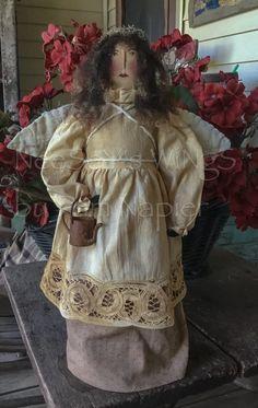 Primitive, OOAK Santas and sheep. Primitive Doll Patterns, Primitive Folk Art, Primitive Country Christmas, Gingerbread Ornaments, Handmade Angels, Doll Clothes, Ornaments Recipe, Dolls, Trending Outfits