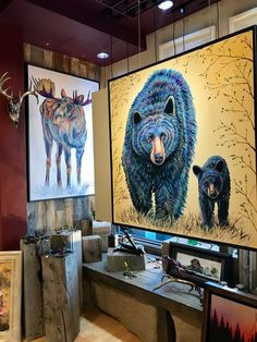 Bullwinkle is a contemporary wildlife painting of a vibrant & colorful bull moose standing in water. You can view more Fine Art Prints on TeshiaArt Collection. Bull Moose, Modern Art, Contemporary, Bear Art, Park City, Jun, Galleries, Gypsy, Artworks