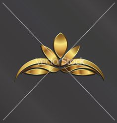 Luxury gold lotus plant image vector