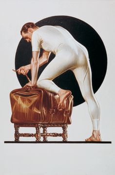 THE MAN ON THE BAG: A classic image, created by artist Joseph C. Leyendecker, used in advertising in the early The Man on the Bag did more than just showcase the product's form-fitting comfort, it forced men's underwear into the advertising mainstream. Bag Illustration, American Illustration, Illustrations, Rolf Armstrong, Gil Elvgren, Norman Rockwell, Vintage Advertisements, Vintage Ads, Jc Leyendecker