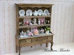 Miniature Dollhouse Kitchen Cupboard With Accessories