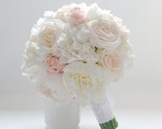 Peony Bouquet - with roses in blush and ivory - Ivory Peony Bouquet, Blush Peony Bouquet, Peony Bouquet, Silk Peony Bouquet, Wedding Bouquet by blueorchidcreations on Etsy Blush Peonies, Silk Peonies, Peonies Bouquet, Pink Bouquet, Silk Flowers, Purple Bouquets, Blush Pink, Peony Bouquet Wedding, Bride Bouquets