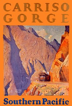Vintage Southern Pacific Railway Poster: Carriso Gorge, California