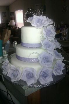 3 Tier Wedding Cake with Edible Flowers