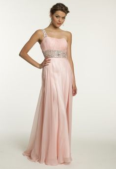 Dazzle the starry night away at your Prom or Homecoming dance in this vibrant, one-of-a-kind Grecian inspired one shoulder chiffon dress by Dave