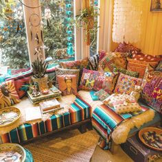 Colorful bohemian home decor styling