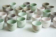 STUDIO ELKE VAN DEN BERG - porcelain cup with insect drawing