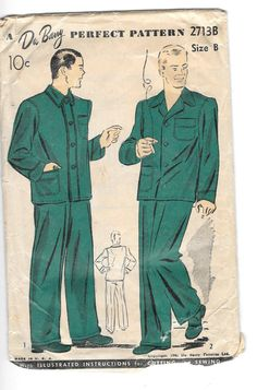 Vintage 1941 Du Barry Mens Pajamas Sewing Pattern 2713 Size 38-40 by SinclairsStuff on Etsy
