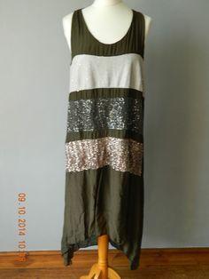 NEW BROWN SILK MIX LAGENLOOK SEQUIN DRESS TUNIC VINTAGE BOHEMIAN 8 10 12  ITALY