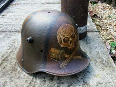 Stormtrooper helmet, WW1, with crossed grenades and skull.