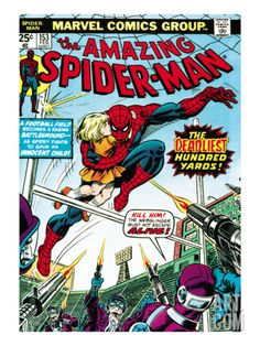 Marvel Comics Retro: The Amazing Spider-Man Comic Book Cover No.153, The Deadliest Hundred Yards Art Print at Art.com