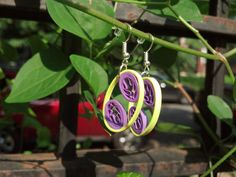 SALE 20% OFF!  Paper Quilled Earrings Oval Leaf - Bright Yellow and Purple - quilling earrings, paper earrings, eco friendly, gift for her
