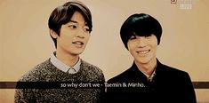 """Maybe we should make a unit group together.""  Minho & Taemin (SHINee) started out sending a message of support to Woohyun (Infinite) & Key's sub-unit ""ToHeart""  Supposed to.  Then got a little side-tracked...  (.gif set)."