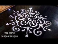 easy rangoli designs without dots ll muggulu designs without dots ll kolam designs without dots - YouTube