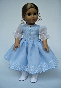 American Girl Doll Clothes Blue Taffeta and White Organza Embroidered Dress. $145.00, via Etsy.