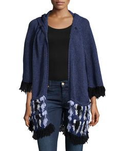 TACSY Nanette Lepore Embroidered Fringed Poncho W/ Hood
