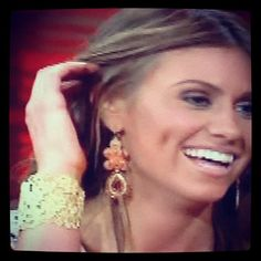 "LOVE the jewelry Lindzi Cox (""Bachelor"" runner up) wore on 'LIVE with Kelly' yesterday!  (Chantilly Lace Cuff + Capri Earrings - Stella & Dot)"