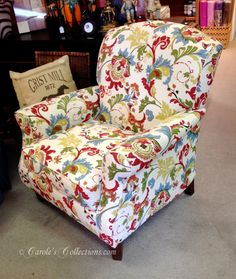 Multi-print upholstered chair from Havertys. #carolescollections