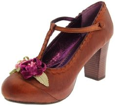 $94.60-$98.00 Poetic Licence Women's London Calling T-Strap Pump,Brown,8.5 M US - Frolic in the warm summer air with these pretty Poetic Licence® pumps on your feet! These luscious women's pumps are set in an all leather upper with a t-strap closure, scalloped trim and flirtatious floral detail at vamp. A lightly cushioned man-made footbed and a hidden platform creates heel with comfort and a magi ...