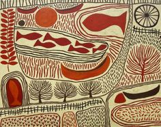 Waterways (state II), 2010-11. Acrylic on linen. 121.5 x 153.0 cm.  Marina is of Italian-Australian heritage and lives in the Northern Territory and was inspired by ancient cultures. She began as a printmaker. In 1992, Marina established the Ikuntji Art Center at Haasts Bluff. (info. Michael Reid website where her art is for sale)