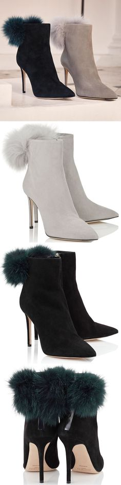 Jimmy Choo Tesler Suede Booties with Fox Fur Pom Poms #jimmychooheelssuede