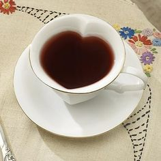 Heart-Shaped Teacup And Saucer | I will take a set, please!!!