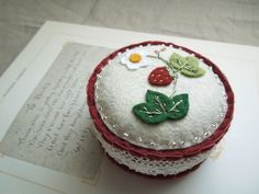 Wild Strawberry Botanical Embroidered Wool Felt Pincushion