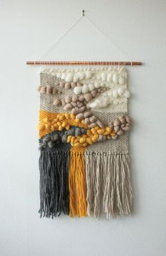 Woven Wall Hanging with Roving Wool and Wool by wearebarnfield. Such amazing texture and colour palette. I am finding these works created using my research topic a really great source of inspiration for choosing my design treatment. Weaving Textiles, Weaving Art, Tapestry Weaving, Loom Weaving, Hand Weaving, Wall Tapestry, Roving Wool, Wool Yarn, Weaving Wall Hanging