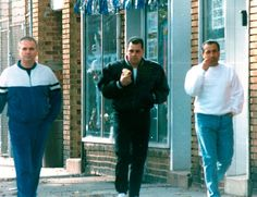 An FBI surveillance photo of suspected mobsters Thomas (Tommy Sneakers) Cacciopoli , John (Junior) Gotti and John Cavallo.