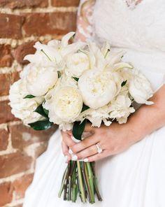 All-white bridal bou