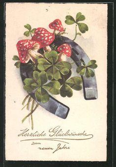 tolle AK Hufeisen mit Kleeblättern und Fliegenpilzen 1931 in Sammeln & Seltenes, Ansichtskarten, Motive | eBay
