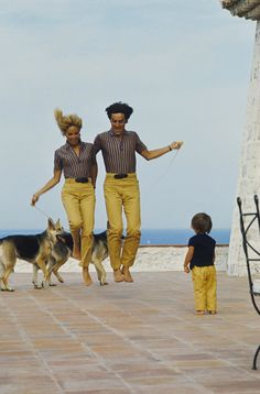 Nathalie, Alain and Anthony Delon, and their dogs, Saint Tropez, 1960's