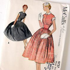 1950s Vintage Sewing Pattern Day Dress with Full by SelvedgeShop