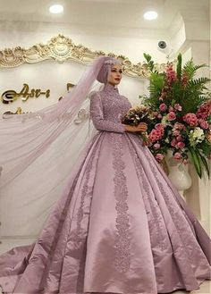 Simple Wedding Dress, Vintage Satin High Collar Ball Gown Arabic Islamic Wedding Dress With Lace Appliques, Shop fit and flare dresses that match your bridal style featuring the latests trends. Wedding Dresses Plus Size, Plus Size Wedding, Dream Wedding Dresses, Wedding Gowns, Bridal Gowns, Lace Wedding, Ball Dresses, Ball Gowns, Long Dresses