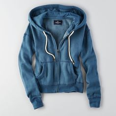 AEO Zip-Up Hoodie ($25) ❤ liked on Polyvore featuring tops, hoodies, blue, zip up hooded sweatshirt, hoodie top, tie top, zip up top and zip up hoodie