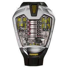 """HUBLOT MP-05 """"LaFerrari"""" Titane Microbillé 50 jours de réserve de marche : record mondial pour l'autonomie de marche d'une montre-bracelet tourbillon à remontage manuel Mouvement 100% conçu, développé et produit par les ingénieurs et les horlogers de la manufacture Hublot (See more at Fr: http://watchmobile7.com/fr/articles/hubot-mp-05-laferrari-titane-microbille) #watches #montres #hublot @Hublot Watches"""