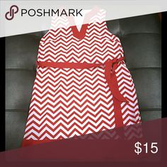 Red white chevron dress Great bold professional dress or GameDay dress. Super comfortable. Mud Pie Dresses