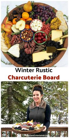 The beauty of a charcuterie board is you can prepare it ahead of time. Make this Winter Rustic Charcuterie Board and enjoy with your holiday guests! Party Food Platters, Party Trays, Food Trays, Cheese Platters, Charcuterie Recipes, Charcuterie And Cheese Board, Charcuterie Platter, Cheese Boards, Tapas