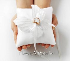 Wedding Ring Pillow White Butterfly Ring Pillow White Wedding