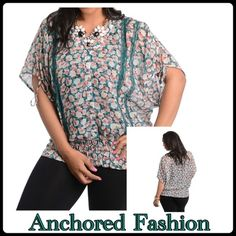 ➕❣FINAL SALEGreen Floral Top Beautiful hunter green lace trim, mauve and cream flowers. Button down front with tie sleeves and elastic waist. 100% Polyester. Tops Blouses