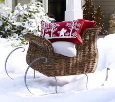 Rattan Sleigh | Pottery Barn  Smaller: Use as bread basket  Sleigh Ride Buffet