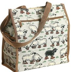 """Sheep Tapestry Tote Bag  A flock of sheep on a tapestry bag in White with black sheep Waterproof lining and multiple pockets. 12"""" x 12"""" x 5"""""""